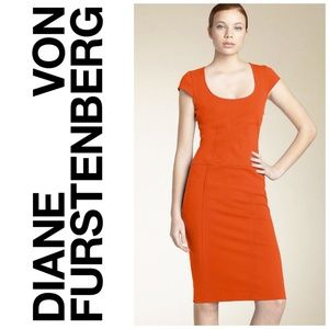 Diane Von Furstenburg Orange Domino Dress